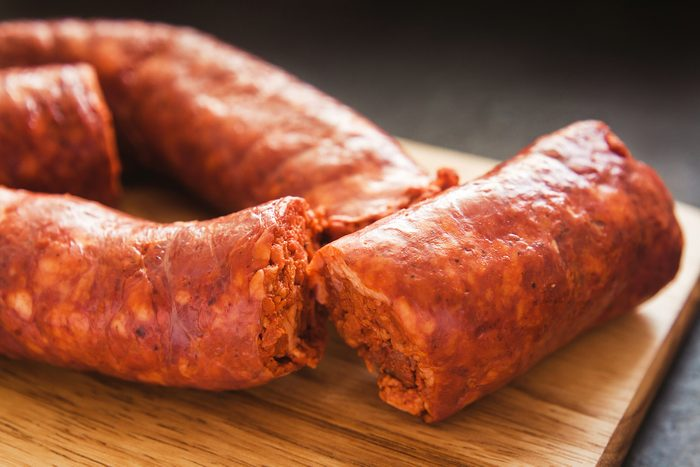 chorizo traditional pork sausage in mexico