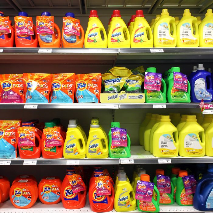 TORONTO, CANADA - MAY 06, 2014: Different types of detergents on shelves in a supermarket. Tide is a laundry detergent manufactured by Procter & Gamble and one of the top three brands of detergents.; Shutterstock ID 230120146