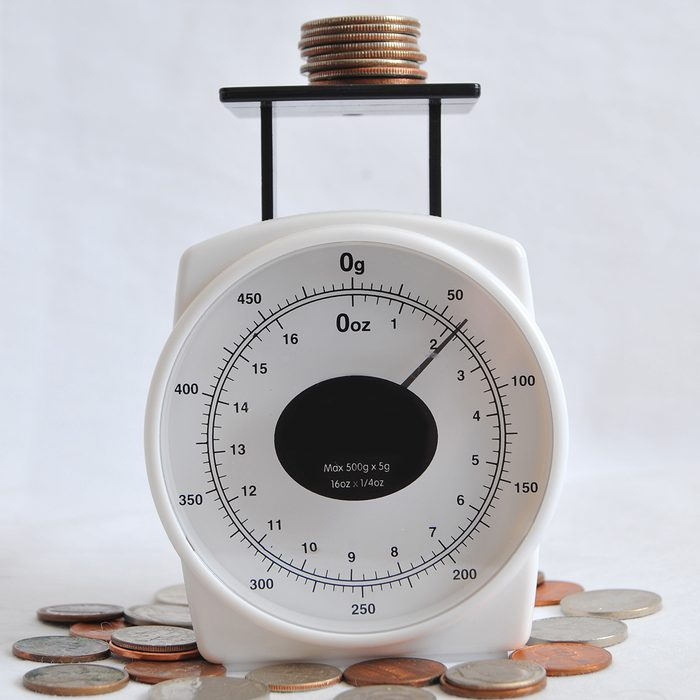 A bunch of coins and change on a weighing scale.; Shutterstock ID 55913362; Job (TFH, TOH, RD, BNB, CWM, CM): TOH