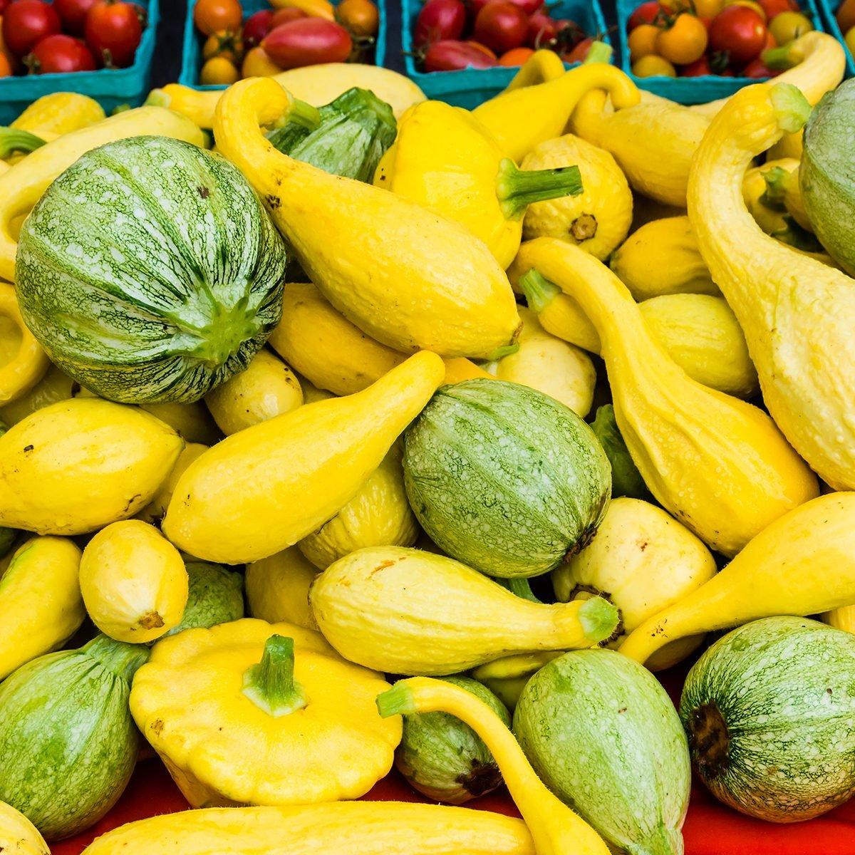 Squash summer squash on display at the farmers market