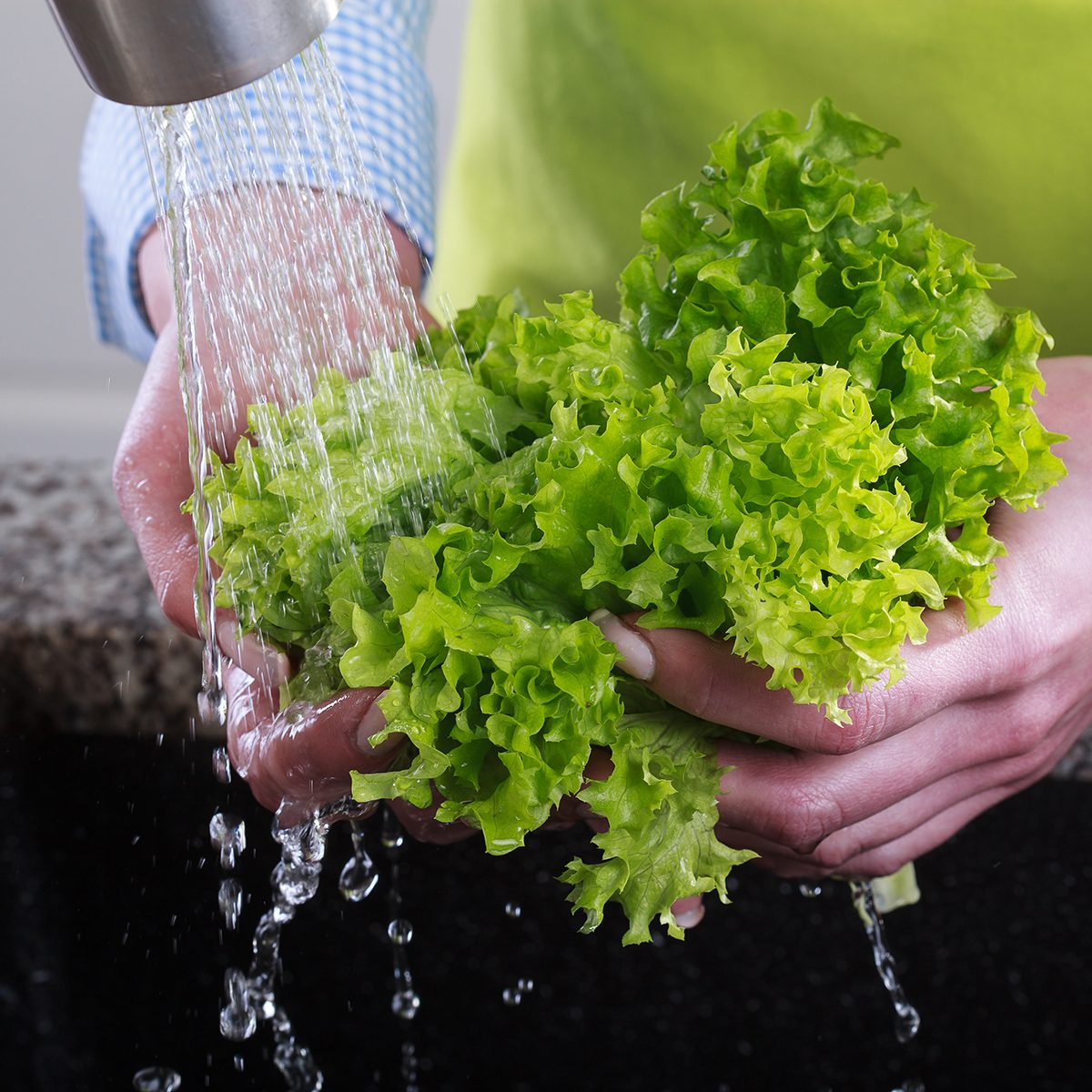 Housewife cleans a green salad in water
