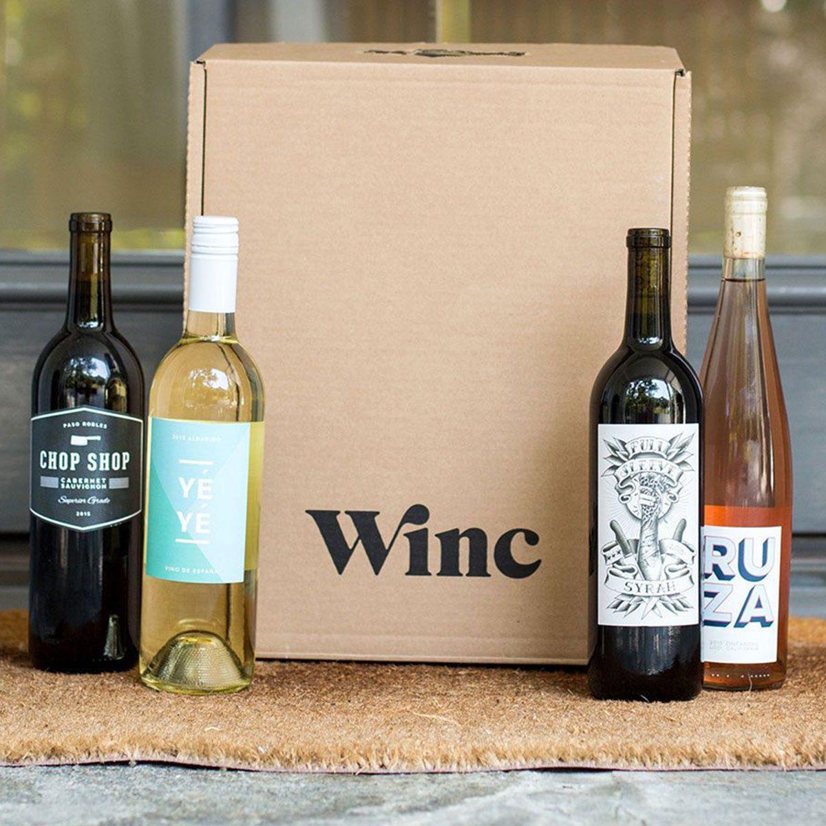 winc wine club hero shot doorstep bottles box