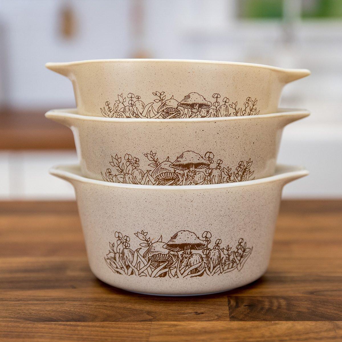 Vintage Pyrex bowls in Forest Fancies print