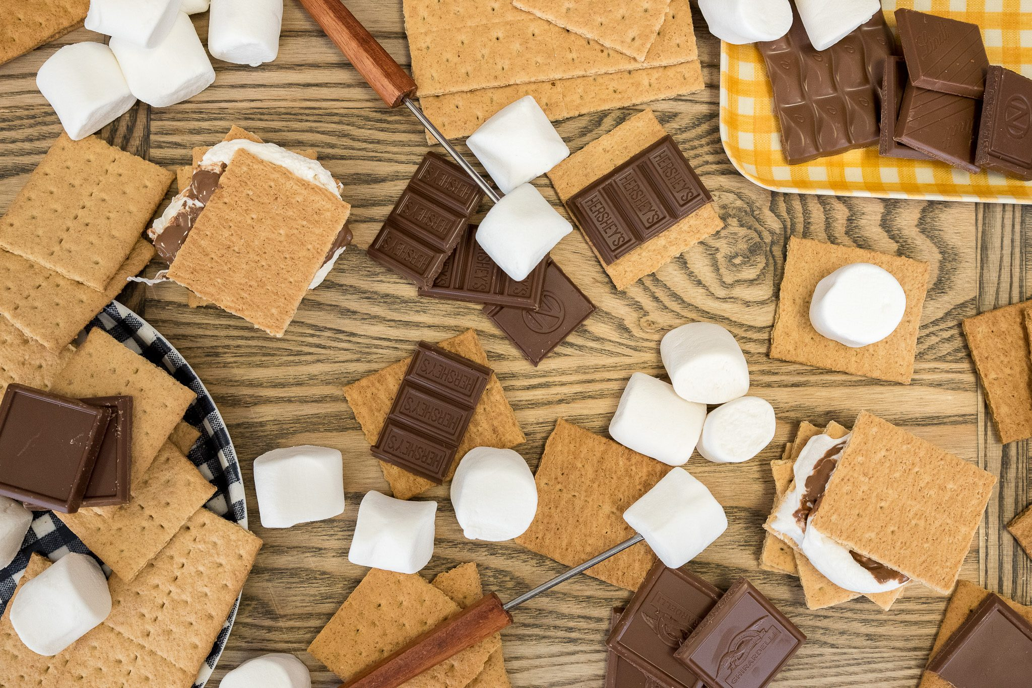 S'mores ingredients, graham crackers, marshmallow, milk chocolate bar