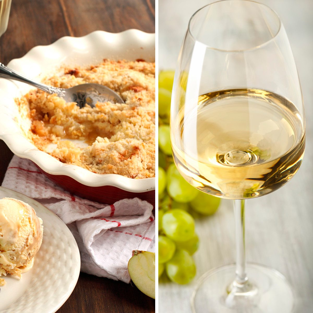 Apple crumble; Shutterstock ID 113714680; Job (TFH, TOH, RD, BNB, CWM, CM): TOH Wine. Grapes. Glass with white wine; Shutterstock ID 606046451; Job (TFH, TOH, RD, BNB, CWM, CM): TOH
