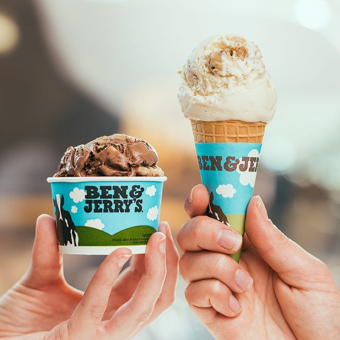 Ben & Jerry's ice cream in a cone and dish