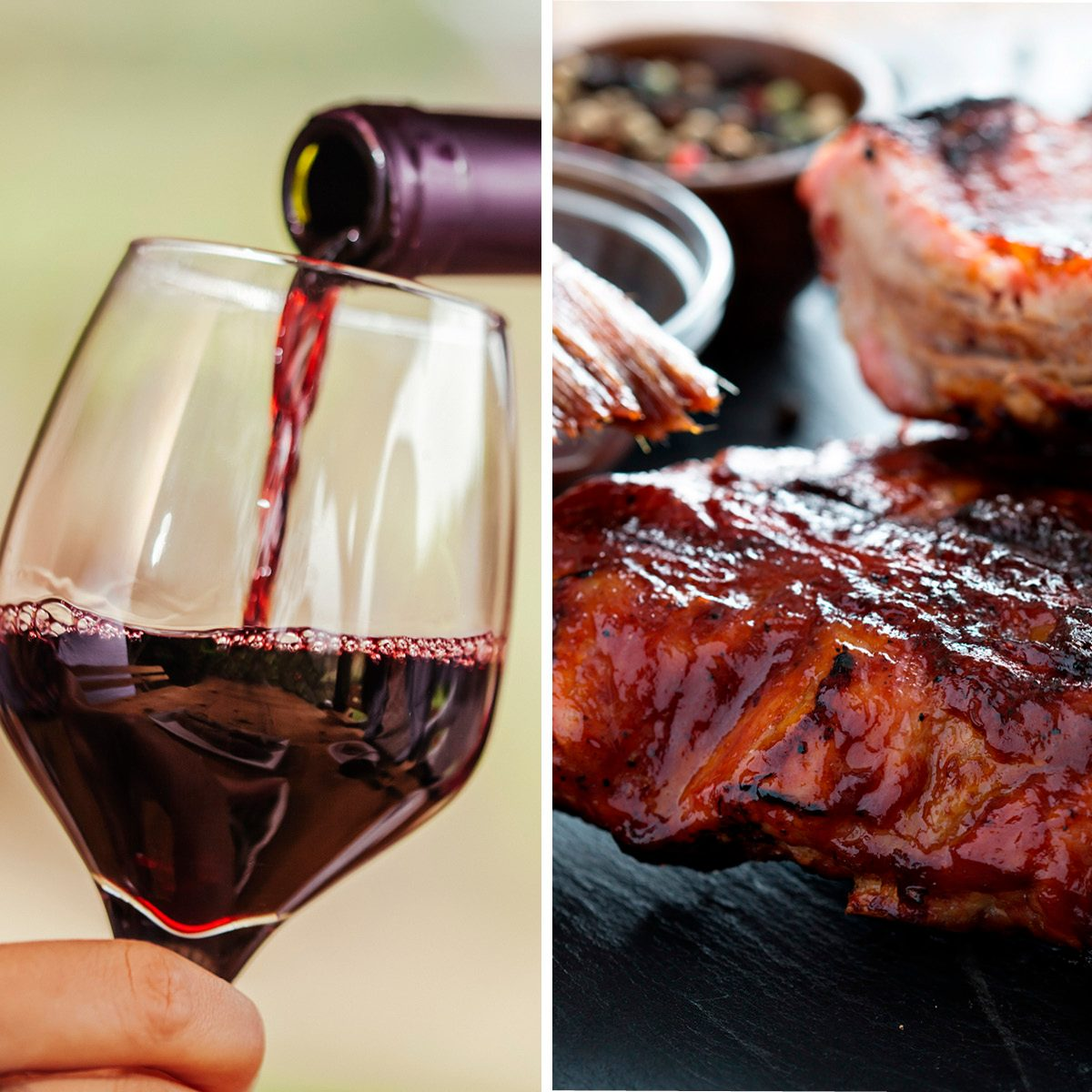 Grilled pork baby ribs with barbecue sauce; Shutterstock ID 432669163; Job (TFH, TOH, RD, BNB, CWM, CM): TOH Red Wine Being Poured In The Glass; Shutterstock ID 508852768; Job (TFH, TOH, RD, BNB, CWM, CM): TOH