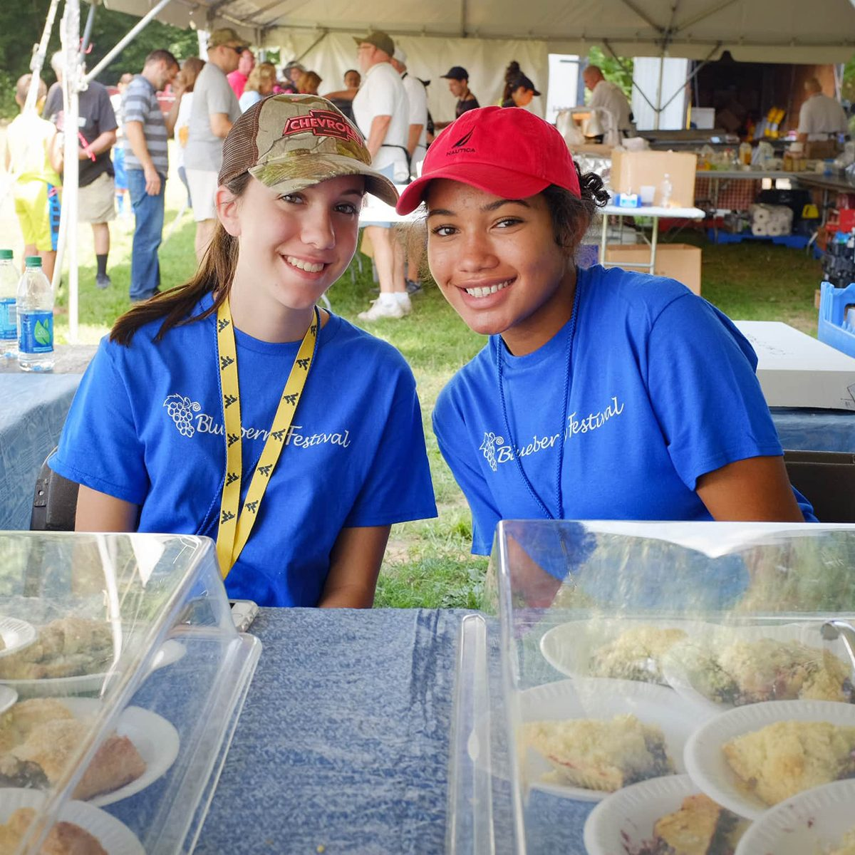 Two volunteers at the Blueberry Festival