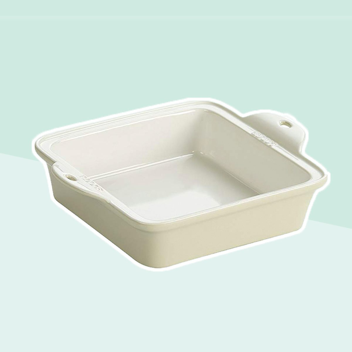 "Lodge STW8SQ13 Stoneware Baking Dish, 8"" x 8"", Oyster White"