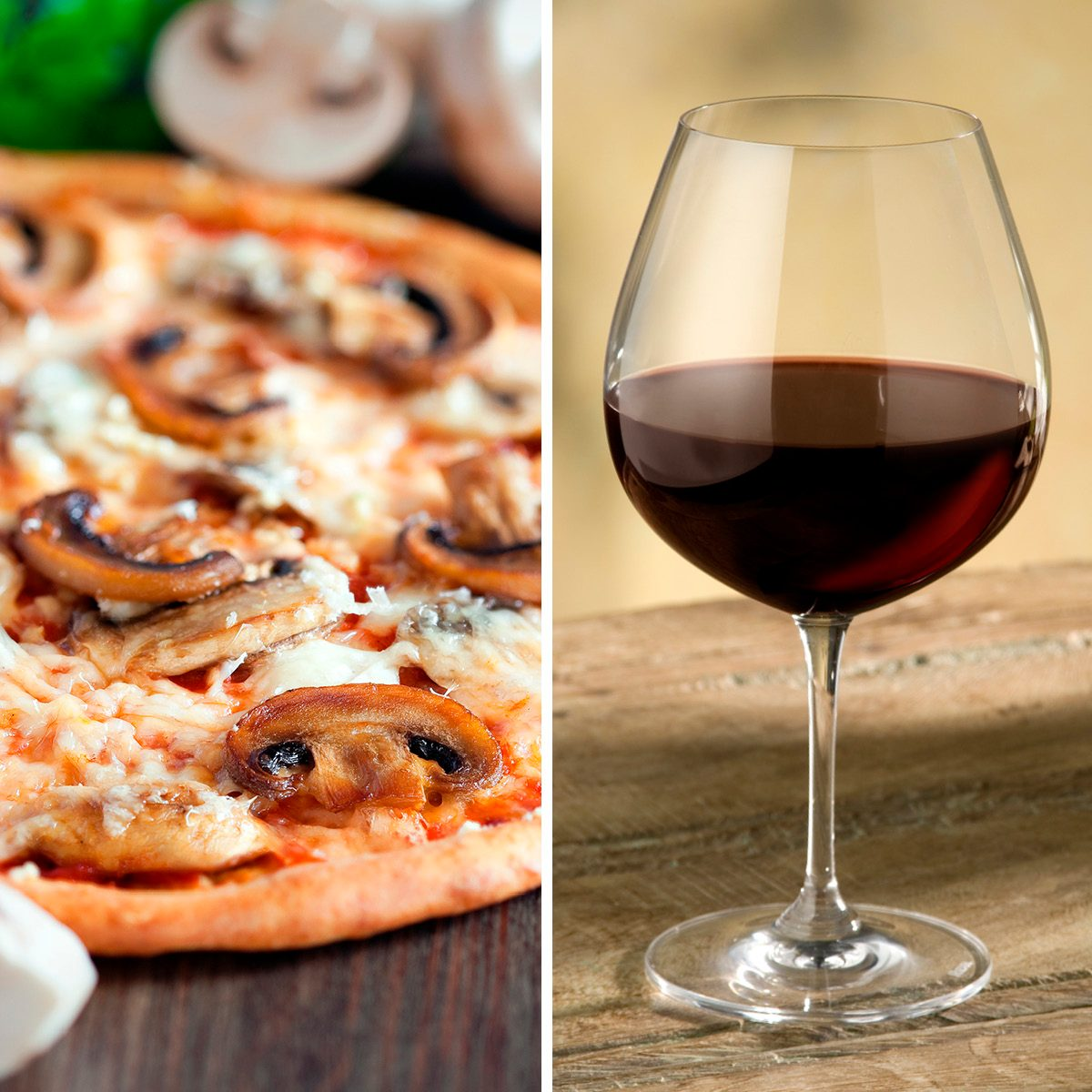 glass of pinot noir wine on rustic wooden table, warm colored background,nice red glow in glass; Shutterstock ID 3077229; Job (TFH, TOH, RD, BNB, CWM, CM): TOH Vegetarian pizza with mushrooms, selective focus; Shutterstock ID 164177081; Job (TFH, TOH, RD, BNB, CWM, CM): TOH