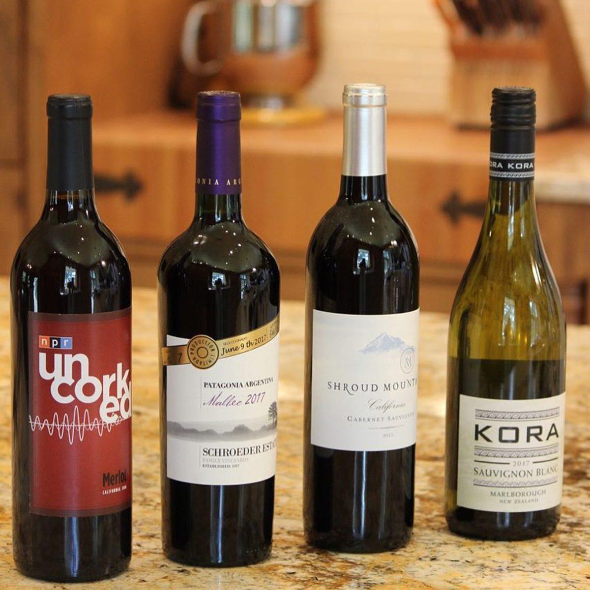 NPR Wine Club wine bottles on table
