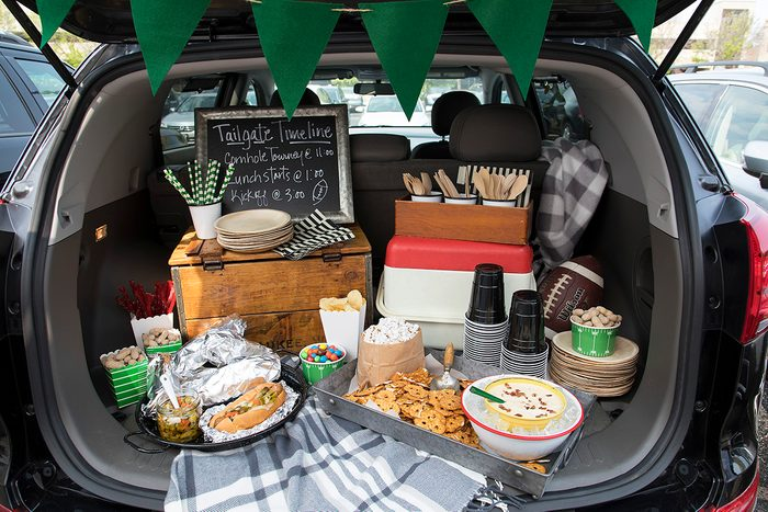 Tailgating interior beauty shot; Dijon-Bacon Dip for Pretzels; 33834 Tailgate Sausages