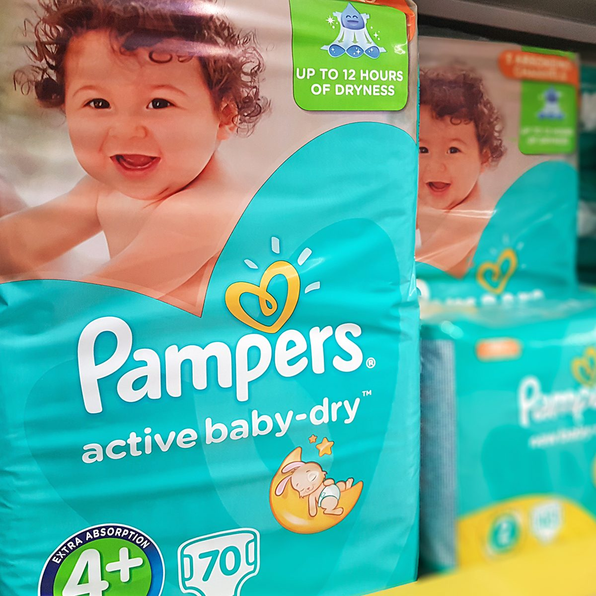 Various types of Pampers active baby-dry by Procter & Gamble Co. and offered for sale in Tesco Hypermarket.