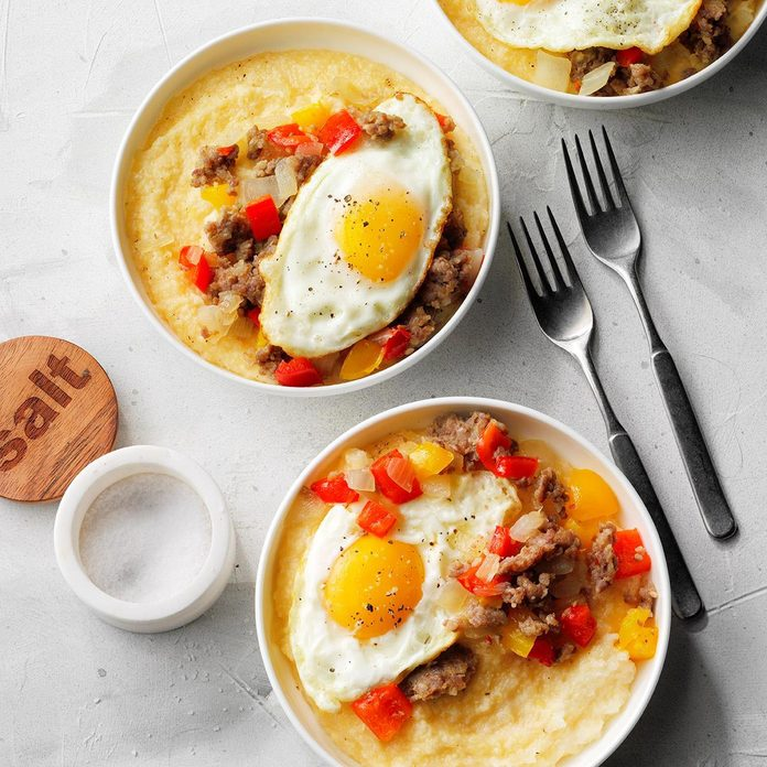 Sausage and Eggs over Cheddar-Parmesan Grits