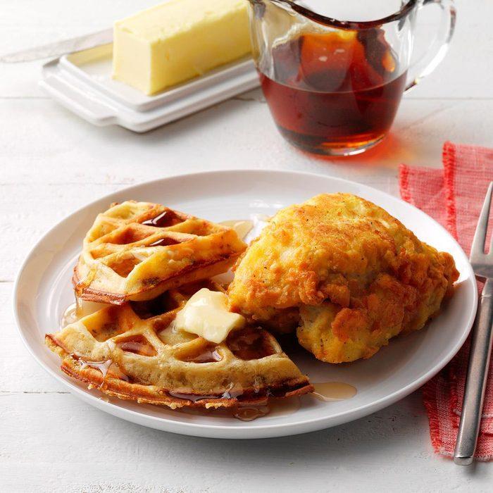 Savory Mustard Chicken And Stuffing Waffles Exps Tohas19 236186 E04 18 2b 4
