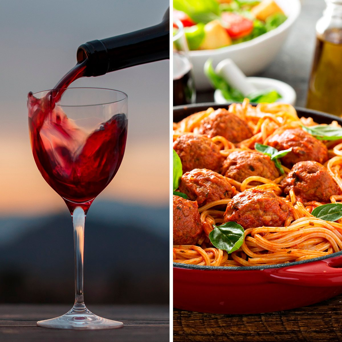 alcohol; background; barbera; beverage; blurry; bordeaux; bottle; burgundy; cabernet; closeup; drink; glass; gourmet; liquid; merlot; mountains background; old; open; outdoor; pinot noir; red; restaurant; sangiovese; sauvignon; sunset background; taste; wine; wineglass Spaghetti with tomato sauce and meatballs, fresh vegetable salad and red wine; Shutterstock ID 635370086; Job (TFH, TOH, RD, BNB, CWM, CM): TOH