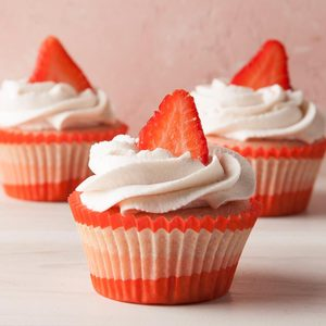 Strawberry Cupcakes with Whipped Cream Frosting