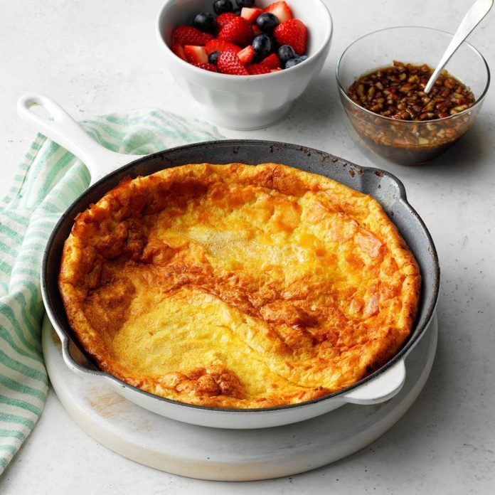 Sweet Potato Dutch Baby with Praline Syrup