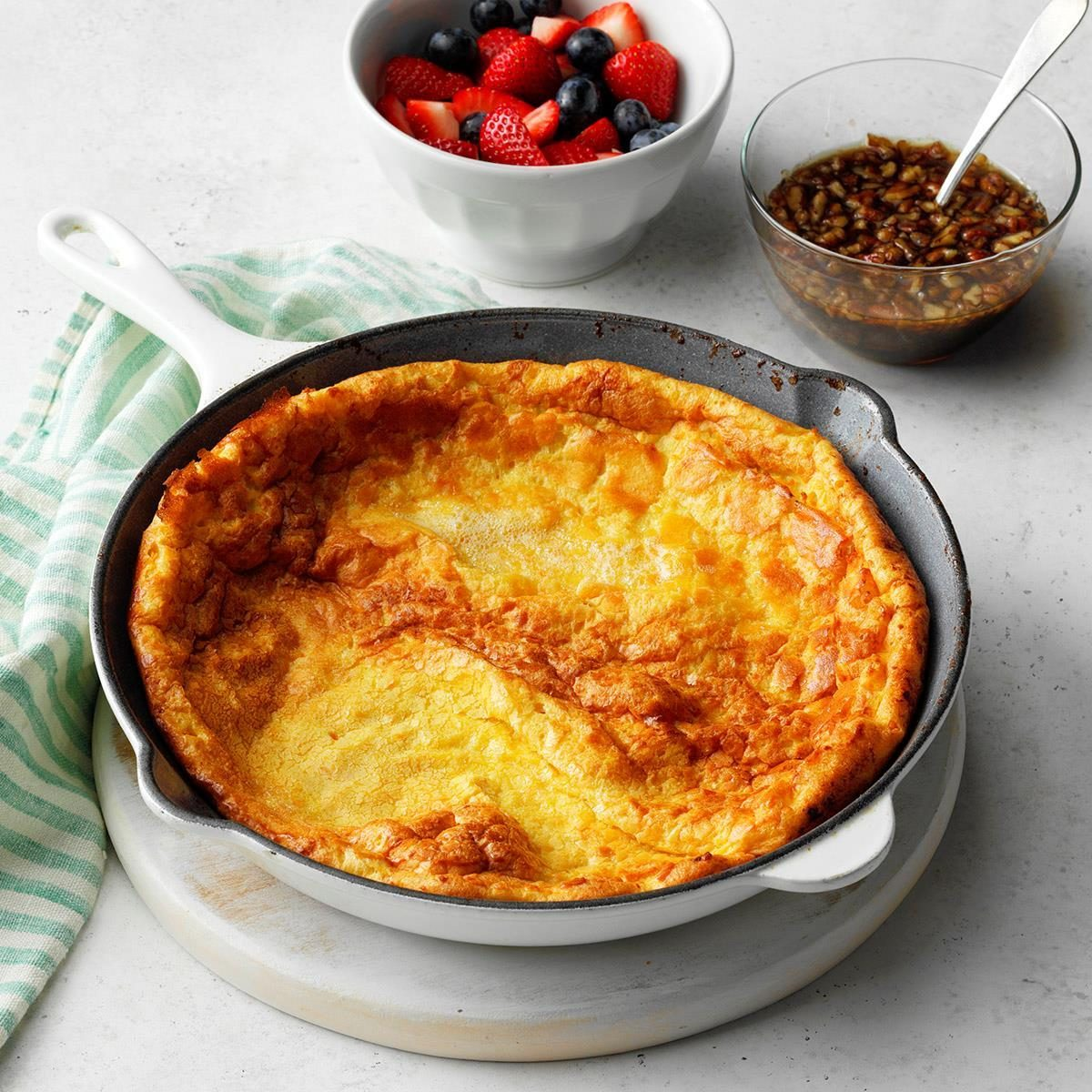 Sweet Potato Dutch Baby with Praline Syrup Recipe | Taste ...