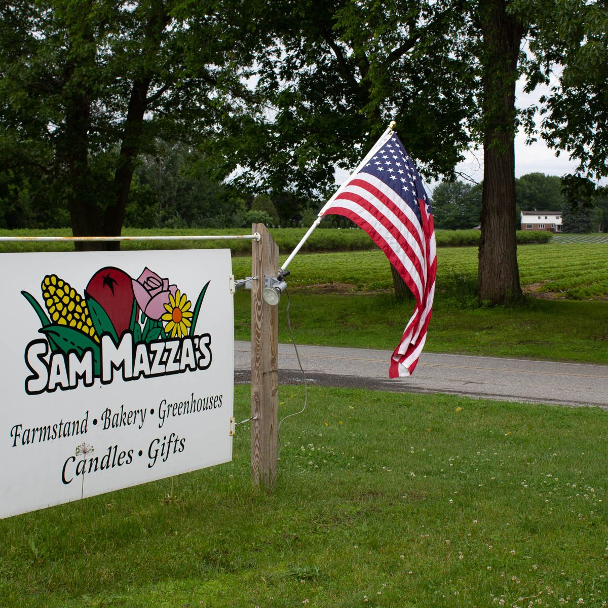Sam Mazza's Farm Market sign