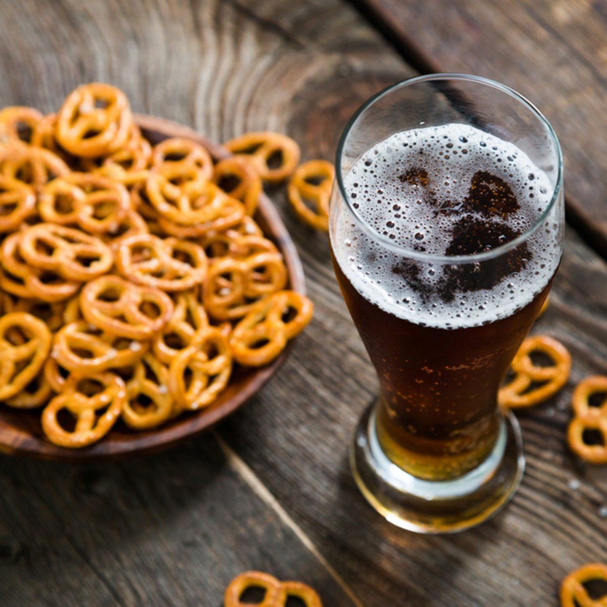 Dark beer and pretzels