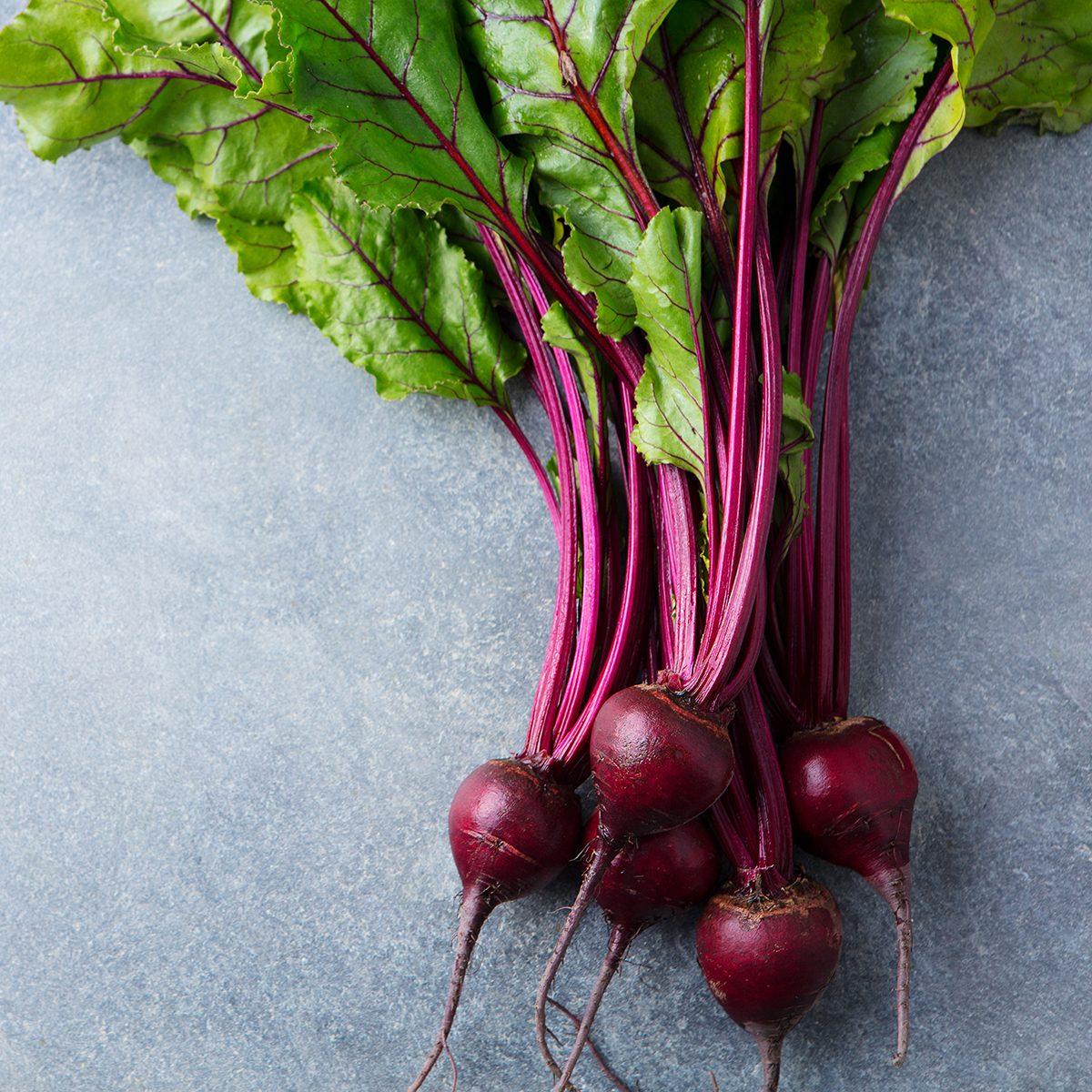 Beet, beetroot bunch on grey stone background.