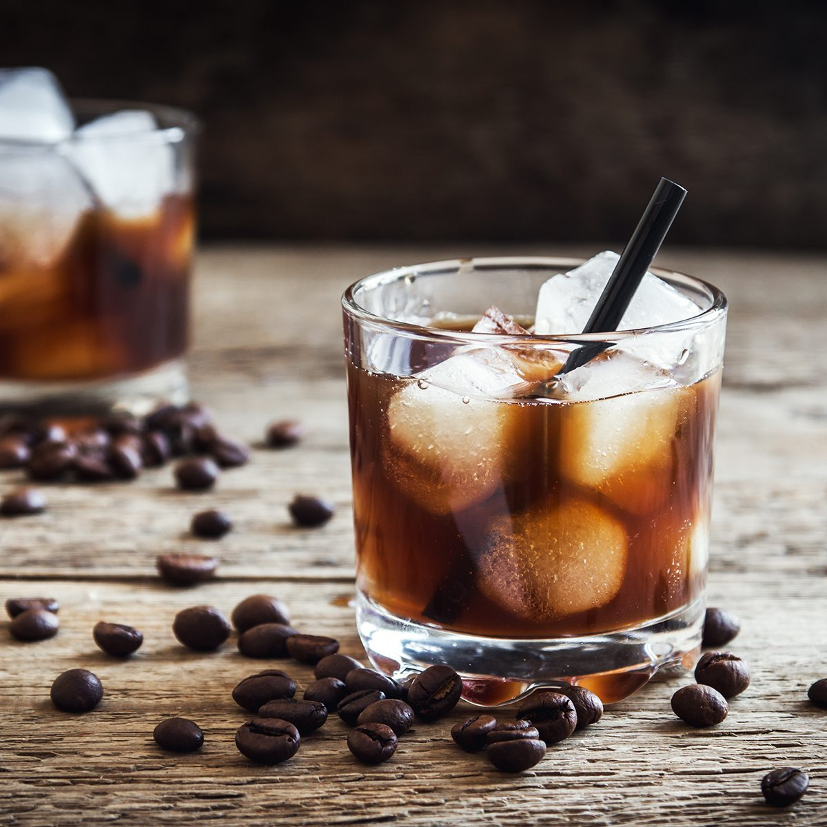 Black Russian Cocktail with Vodka and Coffee Liquor.