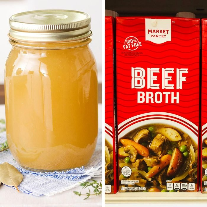 Market Pantry Beef Broth boxes on display at a Target store.