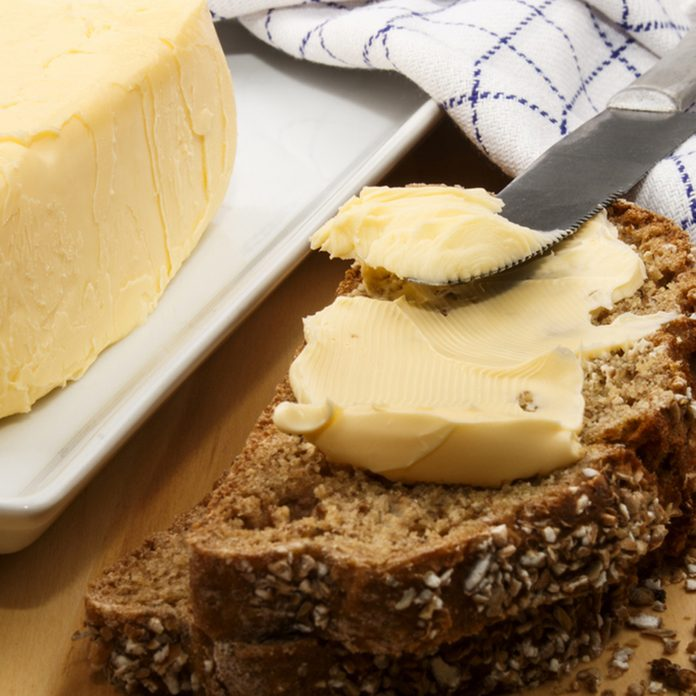 home baked irish wheaten bread with butter and knife