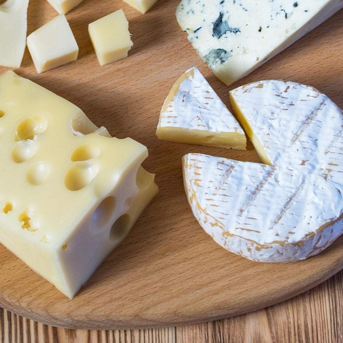 Different cheeses on a platter