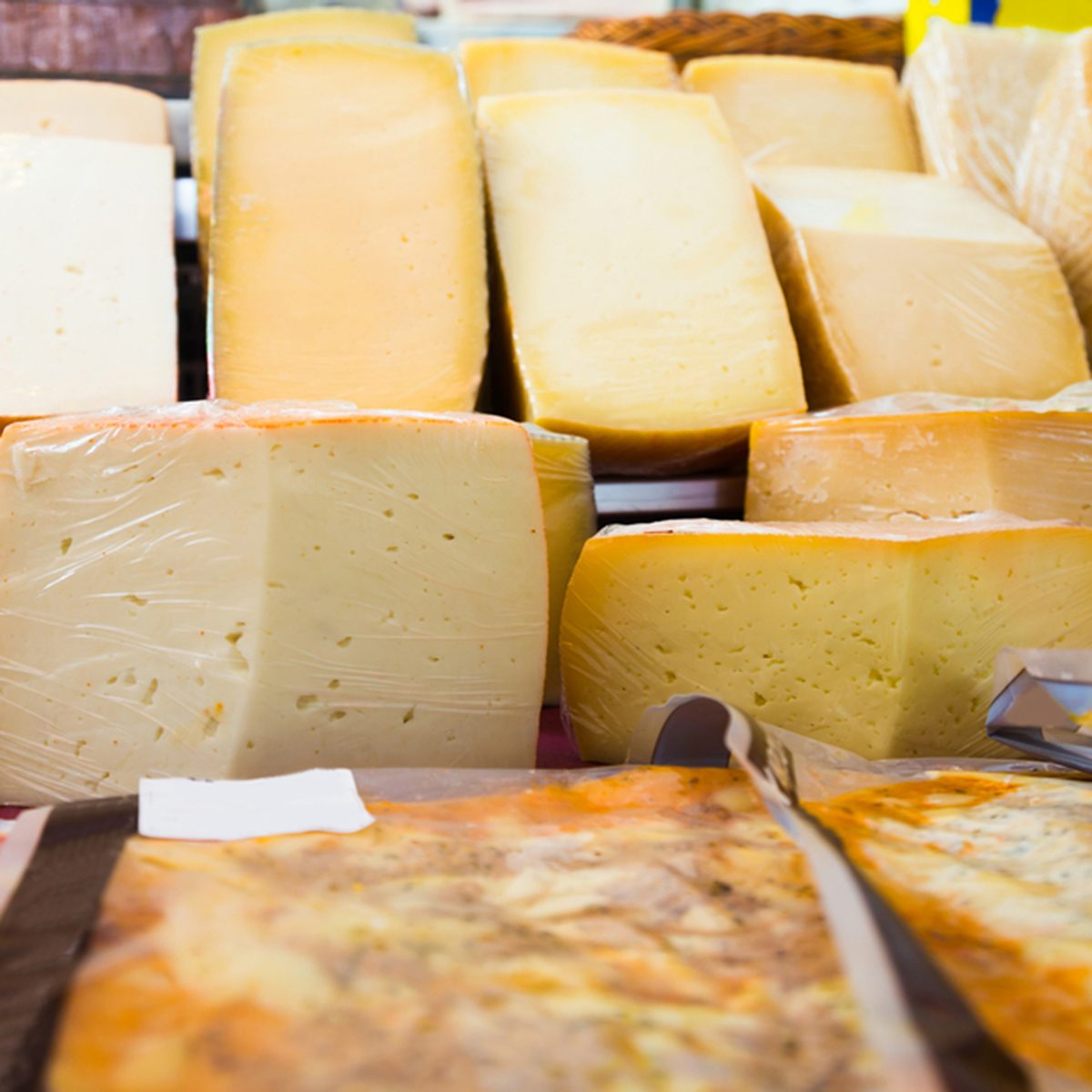 Cheese assortment on market to choose and bye