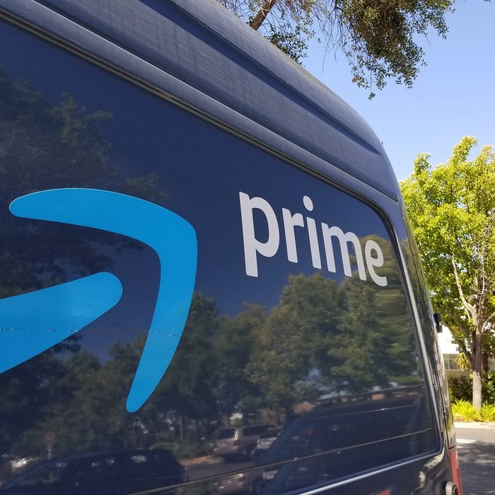 Close-up of logo for Amazon Prime service on the side of a branded delivery truck in San Ramon, California; Amazon announced that it would hire thousands more delivery drivers to increase 1 day shipping options beginning in 2019, July 12, 2019. (Photo by Smith Collection/Gado/Getty Images)