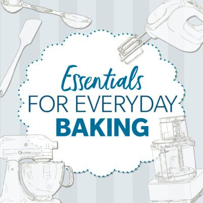 essentials for everyday baking n white doily shaped box with kitchen appliance illustrations around it