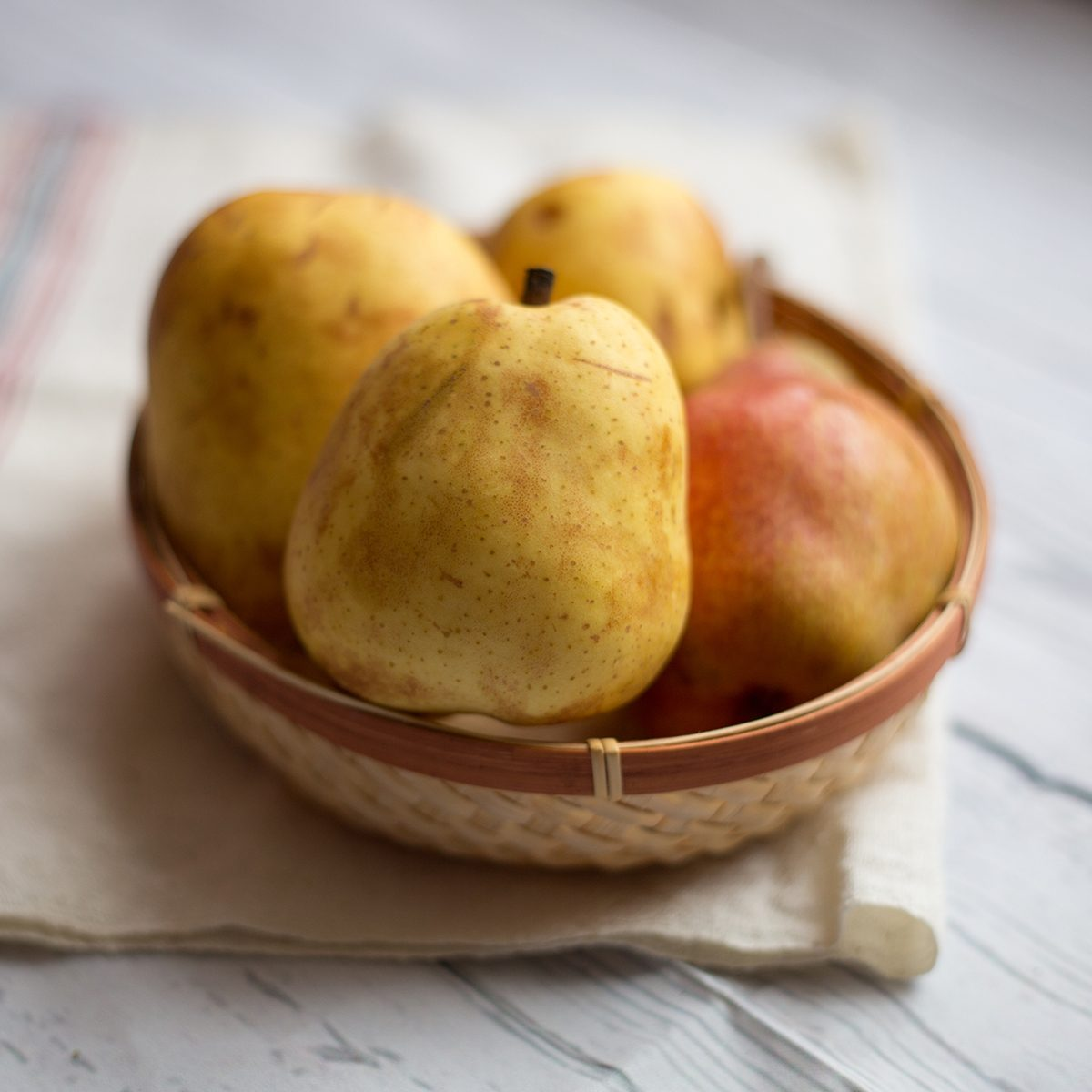 Fruit background. Fresh organic pears on old wood.