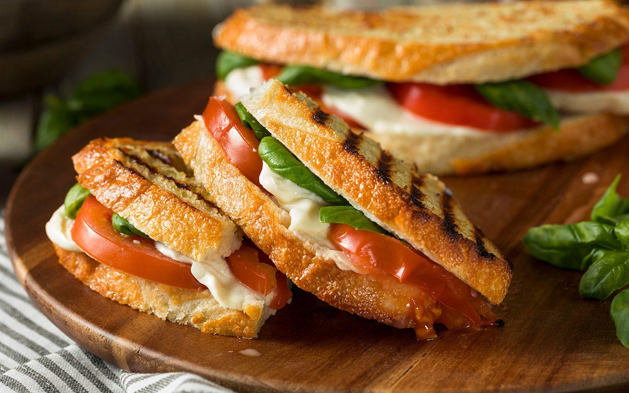mozzarella tomato basil panini sandwich