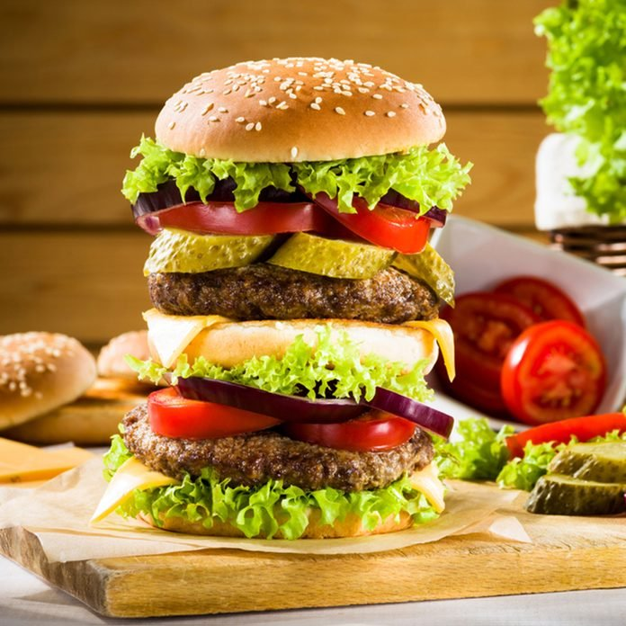 Big burger on the wooden table