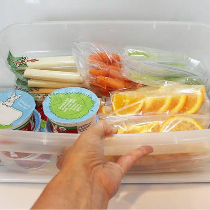 Snack bin in fridge