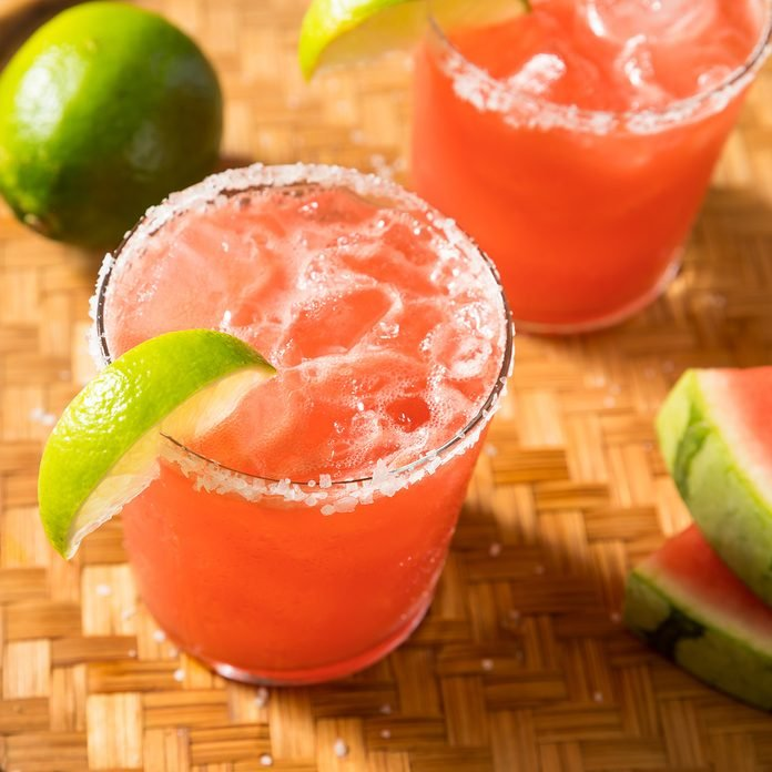 Boozy Refreshing Watermelon Margarita with Lime and Tequila