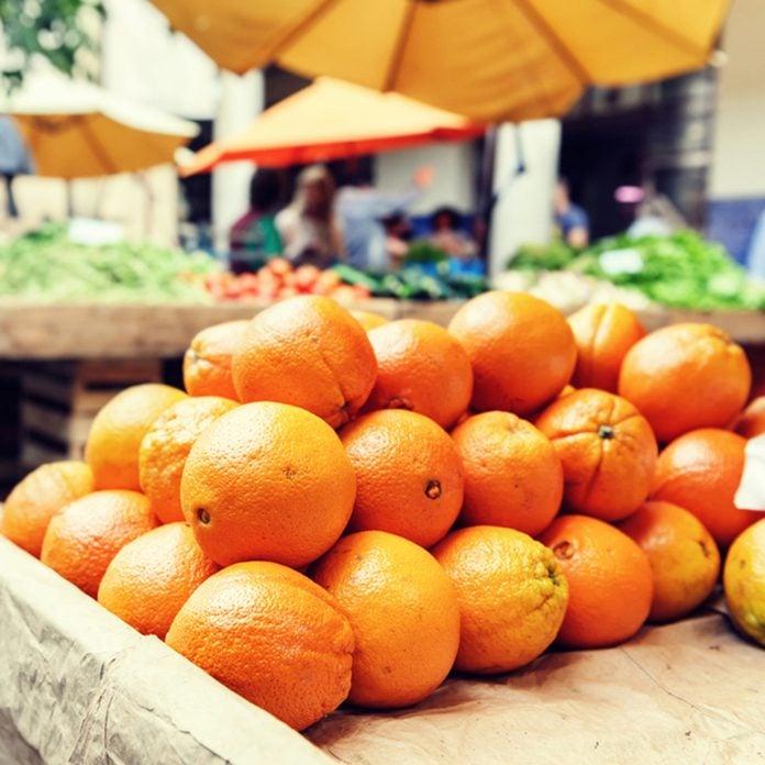 Fresh organic oranges at local farmers market