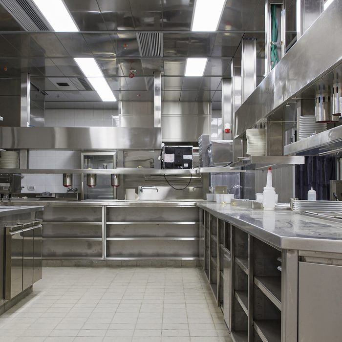 Professional kitchen , view counter in stainless steel
