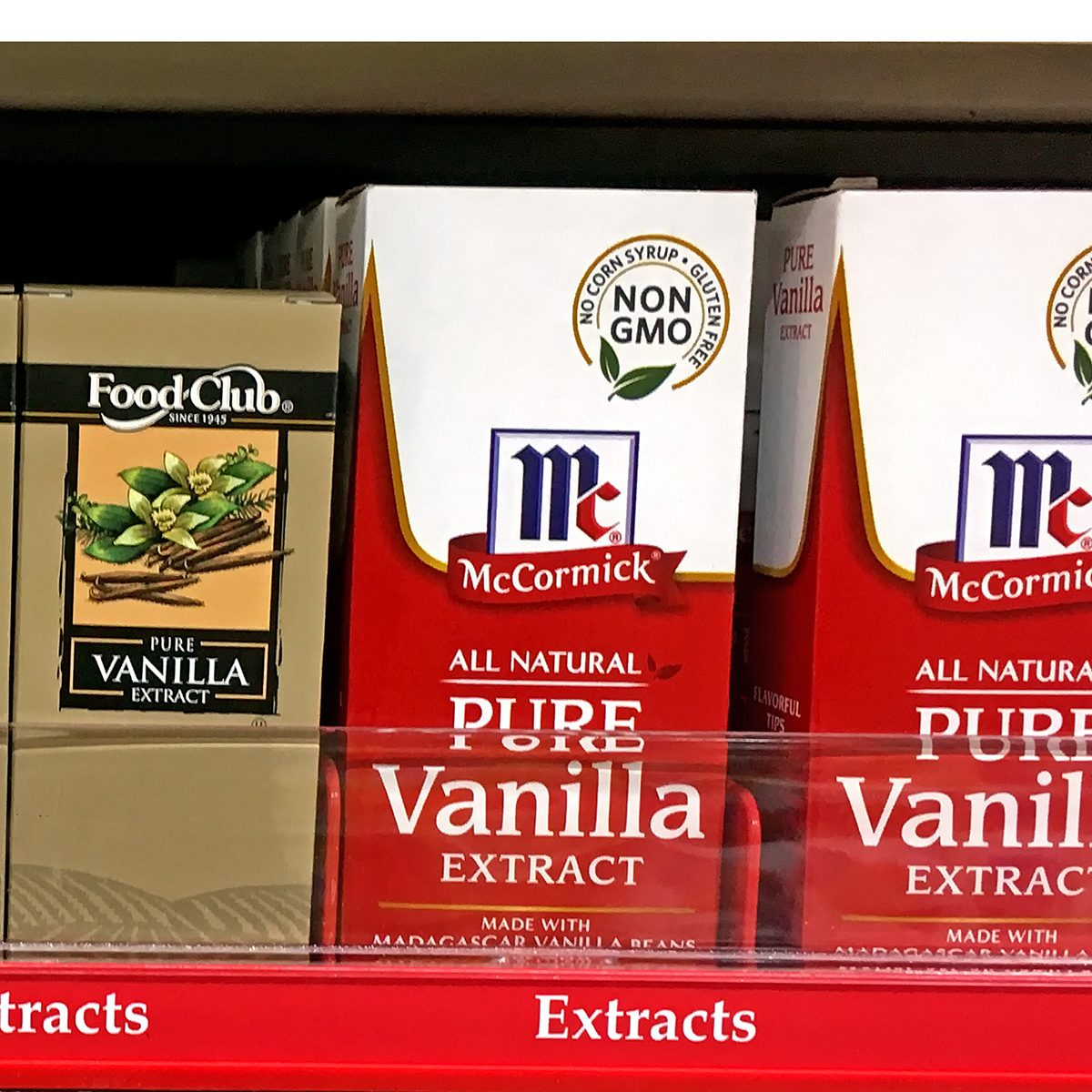 Vanilla Extract on a store shelf in grocery store