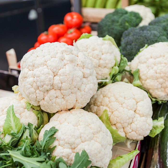 Farmers market. Closeup of Cauliflower with other vegetable ready for sale at local food retail; Shutterstock ID 1346638691; Job (TFH, TOH, RD, BNB, CWM, CM): TOH