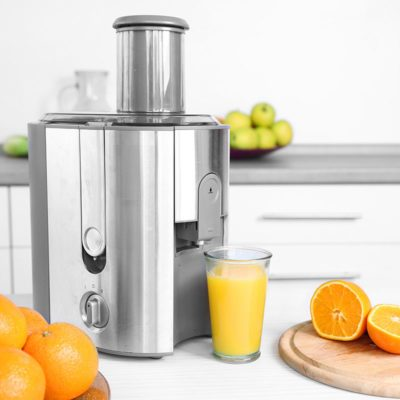 Juicer and fruits on table in kitchen, close up; Shutterstock ID 311218706; Job (TFH, TOH, RD, BNB, CWM, CM): Taste of Home