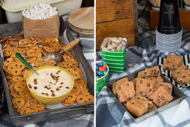snacks;pretzels;dip;bars;cookies;tailgaiting