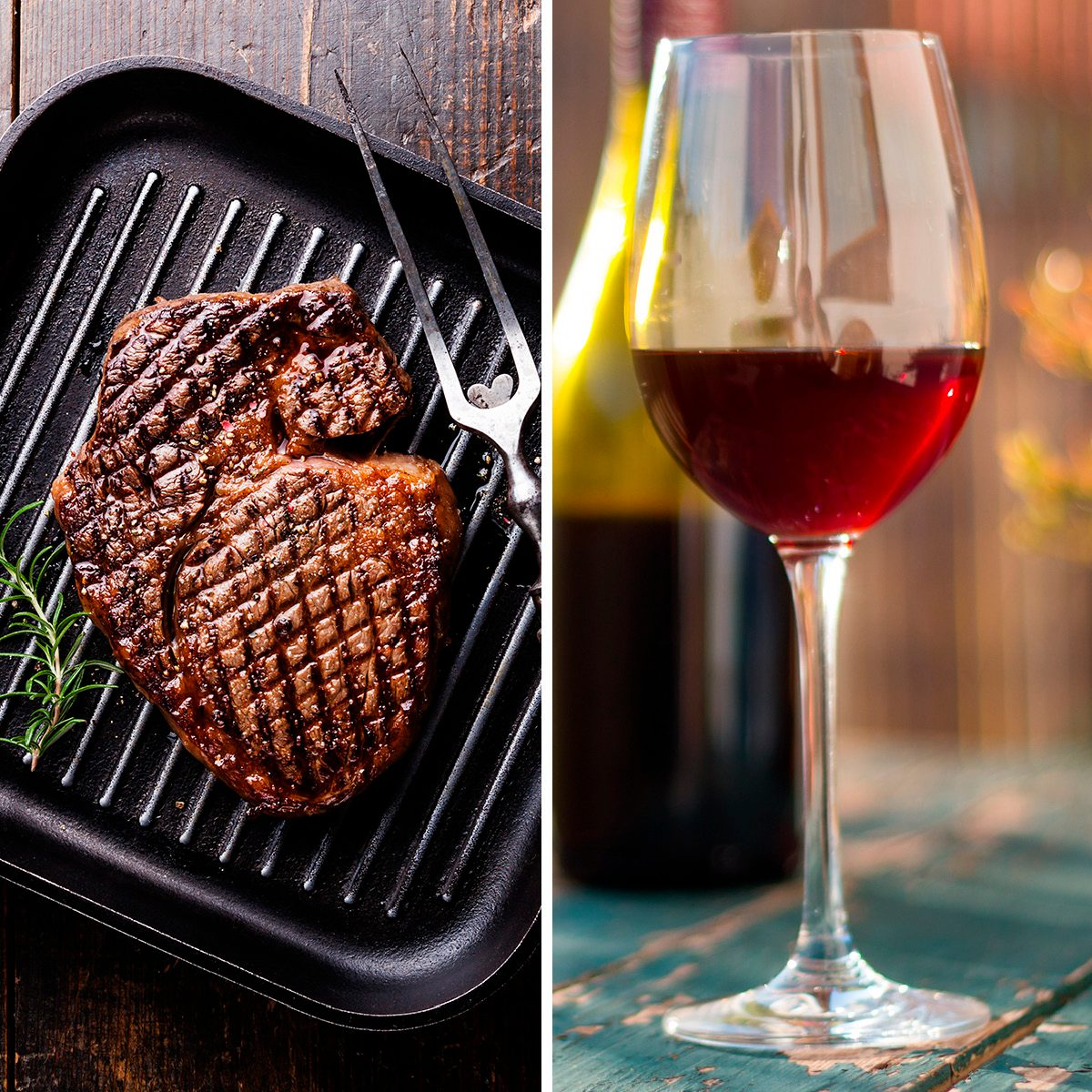 Glass of red wine on an old, rustic wood table. Enjoying it in the own garden in the evening sun.; Shutterstock ID 1361979782; Job (TFH, TOH, RD, BNB, CWM, CM): TOH Grilled Black Angus Steak Ribeye on grill iron pan on wooden background with wine; Shutterstock ID 306596336; Job (TFH, TOH, RD, BNB, CWM, CM): TOH