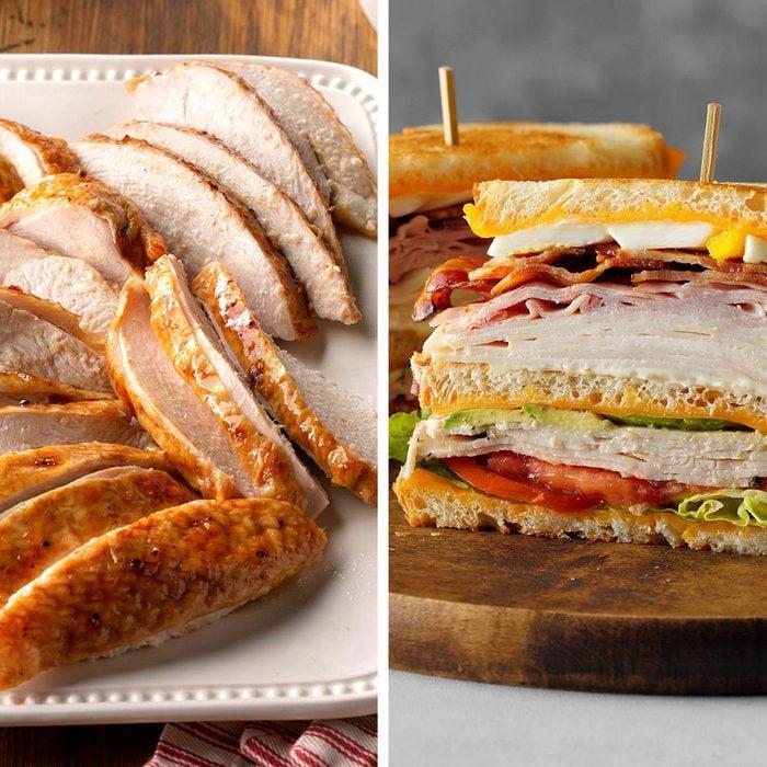 Turkey slices next to cobb sandwich