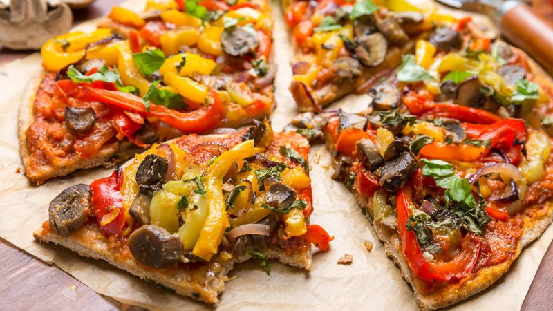 Super Healthy Vegan Whole Grain Vegetables and Mushrooms Pizza