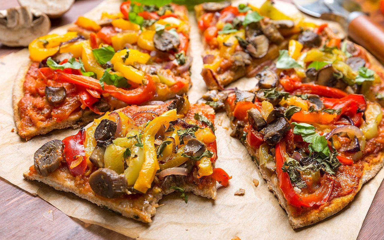 Super Healthy Vegan Whole Grain Vegetables and Mushrooms Pizza