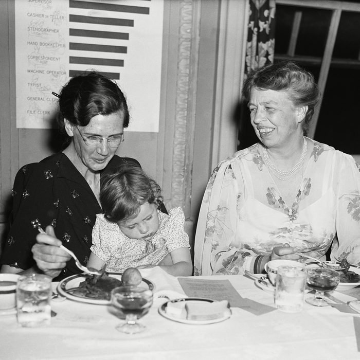 Mandatory Credit: Photo by Everett/Shutterstock (10293567a) First Lady Eleanor Roosevelt at the Daughters of the American Depression Conference, May 14, 1940. On left, Federal relief clients, Mrs. Hugh Easley and her daughter of St. Louis, eat a Five Cent Relief Meal with the First Lady. The conference name is a play on Daughters of the American Revolution Historical Collection