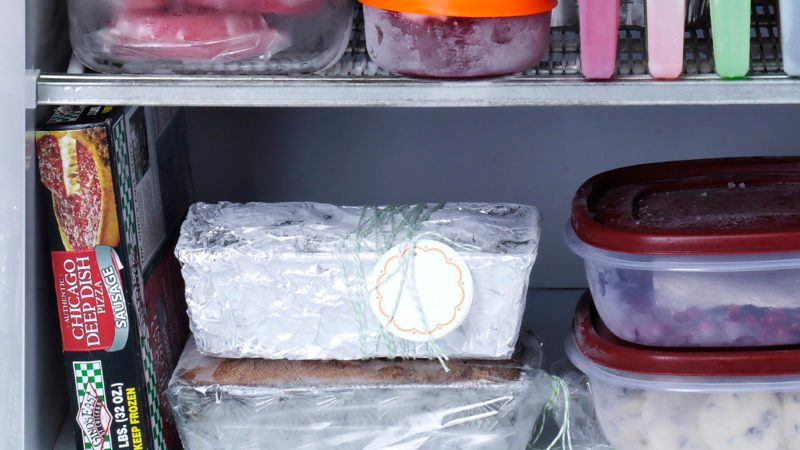 freezer with assorted frozen foods